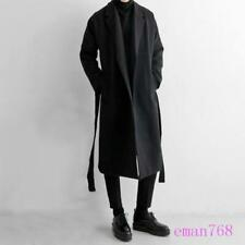 New British Mens Long Wool Blend Trench Coat Korean Belted Jackets Outwear Size