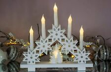 5 LED Wooden Candle Bridge White Traditional Arch Snowflake Christmas Decoration