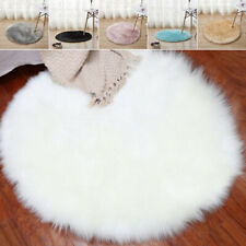 PLAIN FLUFFY FAUX FUR SHEEP SKIN RUG SOFT FAKE SHEEPSKIN MAT BLANKET LIVING ROO