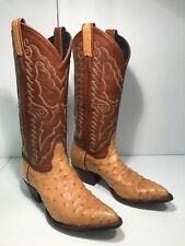 Tony Lama Womens Full Quill Tan Ostrich Cowboy Boots Size 5.5M with Brown Shaft