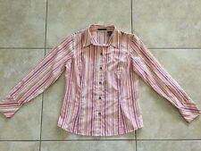 Liz Claiborne Women's Long Sleeve Striped Button Front Shirt Size 10