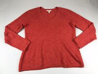 Eileen Fisher Small S Red V Neck Linen Cotton Sweater Knit Top Long Sleeve