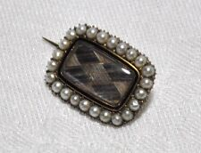 Victorian 9ct Rose Gold with Pearl surround Mourning Brooch with Plaited Hair
