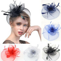 Feather Headdress for Women Prom Fascinator Hat Bridal Net Hairpin Wedding