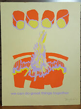 Vintage '77 Neon Screen Print Poster Signed In Pencil By Doug Hark (?)