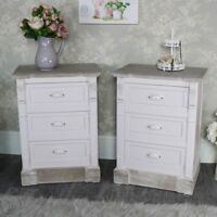 Pair Cream 3 Drawer Bedside Table bedroom furniture French county furniture