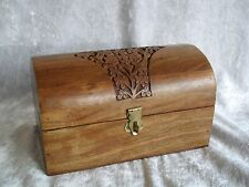 Hand Carved Wood Chest Style Box Jewellery Make-Up Trinket Momento Keepsake Box