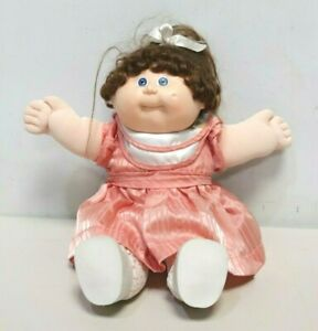 Vintage CABBAGE PATCH Doll Dated 1983 Collectable Pink Dress Brown Hair 80s -213