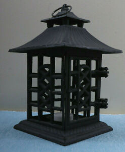 """Outdoor Garden Cast Metal Pagoda Style Hanging Lantern Candle Holder 10.5"""" High"""