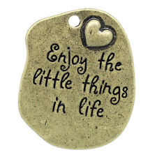 Word Charm Quote Charm Enjoy The Little Things Antiqued Bronze Inspirational