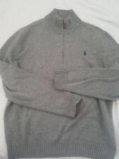 Polo Ralph Lauren Blue Label Sweater Half Zip Funnel neck Pullover Cotton Gray L
