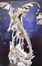 "NIB FRANKLIN MINT SILVER DRAGON 12"" CRYSTAL w/holographic lights MICHAEL WHELAN"