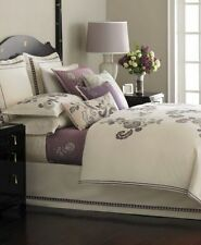 Martha Stewart BELLPORT GARDEN Twin Duvet Cover Set Cream/Purple Embroidery $420