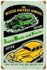 Busted Knuckle Garage Auto Body Fender Retro Metal Sign ManCave Shop Club Bus003