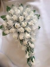 Wedding White Sparkle Bouquet Flower Package *17 PIECES* Tulle, Diamante & Pearl
