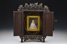 19th Century Antique Mourning Miniature Painting of Little Girl Carved Frame