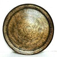 Old 1920s Antique Beautiful Hand Carved Design Brass Round Plate / Tray #06