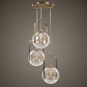 """MIMAS 24"""" MODERN 3 LIGHT PENDANT CHANDELIER LIGHT FLOATING GLASS SPHERE SHADE"""