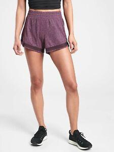 "Athleta Violet Printed Mesh Racer Run 4"" Yoga Fitness Running Short #446581 S"