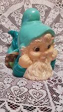 "Vintage 1977 Hand Painted 13 1/2"" Long& 10"" Tall Ceramic Garden Gnome- Teal/Aqua"