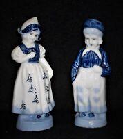 Dutch Boy & Girl Porcelain Figurines Stamped Occupied Japan ~ Blue & White Delft