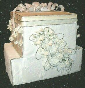 Wedding CARD MONEY BOX 2 Tier WHITE LACE SATIN Silver BEAD Trim Flowers Handmade