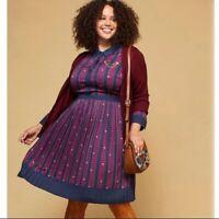 ModCloth Shirt Dress Just My Typist Clover Stripes XL Navy Blue Long Sleeve ret