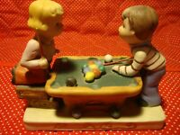 Vintage Ceramic Boy & Girl Figurine Playing Pool Gold Tone Trim on Base      348