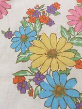 VTG Twin Flat Sheet Daisy Flower Power Pink Blue Yellow Groovy Mod Cannon USA