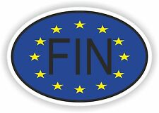 OVAL EUROPEAN UNION FLAG WITH FIN FINLAND COUNTRY CODE STICKER MOTO AUTO