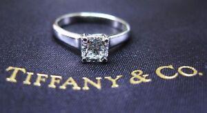 Tiffany & Co PLATINUM Lucida Diamond Engagement Ring H-IF .55CT
