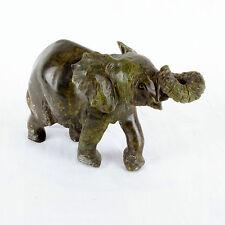 Handgeschnitzt Afrikanisch Elefant Stein Skulptur,Braun/Grün Stein,14 cm Lang