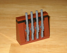 ********NEW LEGO GUN RACK WITH 4 GRAY RIFLES FOR MINIFIGURES**********