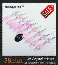 10 Pink Chandelier Glass Crystals Lamp Prisms Parts Hanging Drops Pendants 1.49""