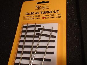 Micro- Engineering #14-454 On30 #5 CODE 70 RH TURNOUT BIGDISCOUNTTRAINS