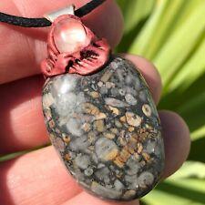 More details for crinoid fossil & rose quartz pendant, 28 gms. reiki. crystals, healing, calming.