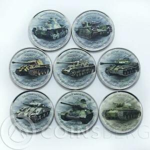 Zimbabwe 1 shilling set of 8 coins History of Tanks coins 2017