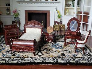 1/2 Scale Dollhouse Miniature BedRoom Set Bed Vanity Chair Nightstand  1:24