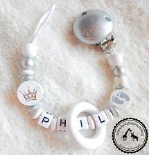 ♥ Schnullerkette mit Namen ★ Glitzer Krone/Füße in weiß/silber ♥ NEU