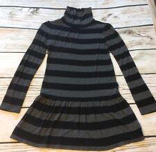 Gap Girls Turtleneck Tunic Dress Size 14 16 Black Gray Stripe Drop Waist Stretch