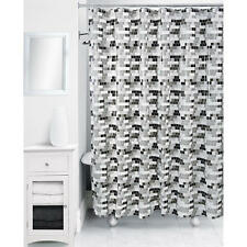 "Rubix Geometric Cube Tile Shower Curtain, Black/White, Peva 70"" x 72"" - NEW"