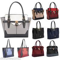 Womens Ladies Designer Faux Leather Mock Croc Large Shoulder Handbag Tote Bag