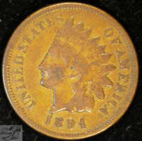 1894 Indian Head Cent, Very Good+ Condition, Free Shipping in USA, C5036