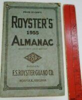 Vintage 1955 Almanac Norfolk Virginia F S Royster's Guano Fertilizers Chemicals