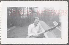 Vintage Photo Young Man w/ Model Airplane Toy 752454