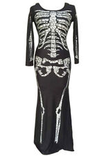 Day of the Dead Costume Womens Skeleton Dress Black White Long Sleeve Maxi