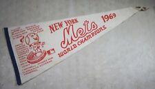 Vintage Original 1969 NY Mets World Champions Pennant New York Baseball Flag