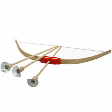 TRADITIONAL NATURAL WOODEN CHILDS TOY ROLE PLAY BOW 42CM & 3 ARROWS SET- AGE 6+