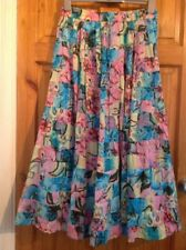 Cotton Breeze vintage 90s Colourful Floral Long Gypsy Full Skirt UK 14