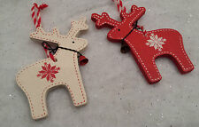 2 X Nórdico Reno De Madera De Árbol De Navidad Decoración Rojo & Blanco Cielo envía